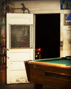 Pool Table And Back Door, Moravia Store, Moravia, Texas