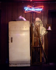 Refrigerator, Budweiser Sign And Pool Cue Stand, Schroeder's Place, Thorndale, Texas