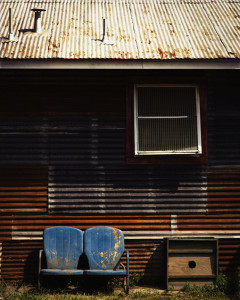 A sofa in the back yard of Freiheit Country Store, New Braunfels, Texas, USA.